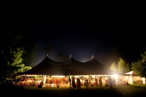 outdoor tent event at night