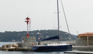 sailing yacht preparing for event